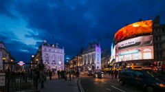 Evening Traffic on Piccadilly Circus in London, UK. Stock Footage