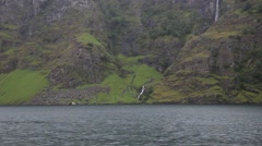 Sailing Along Norwegian Fjord, Flam Norway Stock Footage