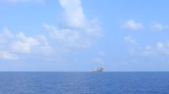 Tender Offshore Drilling Rig and Work Boat Stock Footage