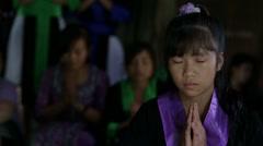 Hmong Girl in Prayer Stock Footage
