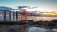 Timelapse of the Forth Road Rail Bridge - stock footage