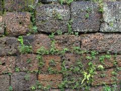 wall detail at angkor thom - stock photo