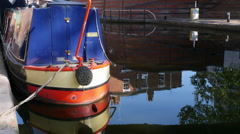 Detail of a barge on the BCN Main Line Canal,   Brindleyplace, Birmingham. Stock Footage