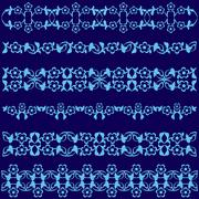 Ottoman motifs blue design series of fifty seven Stock Illustration