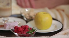 Layered rhubarb and quark dessert Stock Footage