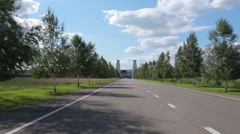 Road along trees Stock Footage