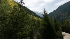 Tourists hiking at beautiful jiuzhaigou valley national park in china Stock Footage