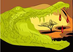 crocodile africa - stock illustration
