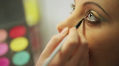 Stock Video Footage of Bright eye make-up