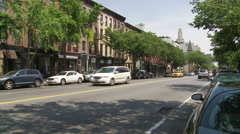 Atlantic Avenue in Brooklyn. Brooklyn Clocktower. Boerum Hill. Cobble Hill.  Stock Footage