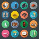 Tourism flat icons set Stock Illustration