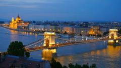 Panorama of Budapest, Hungary. Chain Bridge and the Parliament. Timelapse Stock Footage