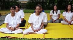 People have a meditation in the morning for Lent Day - stock footage