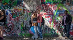 PRAGUE, CZECH REPUBLIC - July 12:The Lennon Wall since the 1980 filled with John Stock Footage