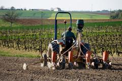 deposit a fertilizer with a winemaker on his tractor - stock photo