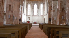 The view inside the big church in tartu gh4 Stock Footage