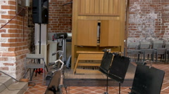 The music area of the church in tartu gh4 Stock Footage