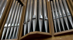 Closer look of the metal organ of the church gh4 Stock Footage