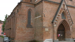 The view outside the old church in tartu gh4 Stock Footage