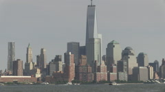 Freedom Tower and water taxis from New Jersey Stock Footage