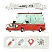 Cartoon Family Old Car Set - stock illustration