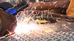 Welder Welding The New Grating in The Factory Stock Footage