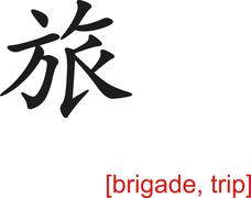 Chinese Sign for brigade, trip - stock illustration