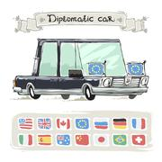 Diplomatic Car With Flags Set - stock illustration
