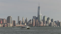 Ferry East River Freedom Tower from New Jersey Stock Footage