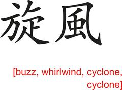 Chinese Sign for buzz, whirlwind, cyclone, cyclone Stock Illustration