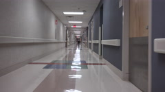 4K Visitors POV Walk Medical Center Hallways Stock Footage
