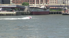 Jet ski river Manhattan New York Stock Footage