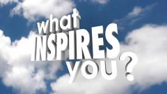 What Inspires You 3D Words Clouds Sky Inspiration Creativity Motivation Stock Footage