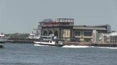3 ships pass Manhattan New York Stock Footage
