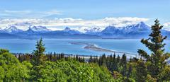 Alaskan mountain and bay, Homer Spit, Kenai Peninsula Stock Photos
