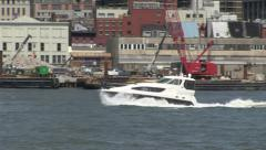 Speed boat to old ships Manhattan New York Stock Footage