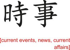 Chinese Sign for current events, news, current affairs - stock illustration