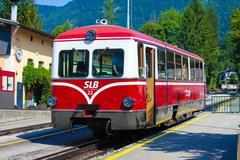 Diesel locomotive of a vintage cogwheel railway going to schafberg peak Stock Photos