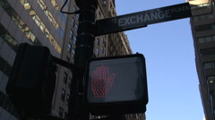 Traffic light stop sign at Wall street Manhattan, New York City, USA Stock Footage