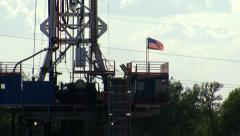 Oil Rig with American Flag Stock Footage