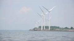 Alternative Energy Wind Turbines on Water Stock Footage