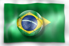 creative brazil football flag and ball design - stock illustration