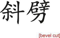 Stock Illustration of Chinese Sign for bevel cut