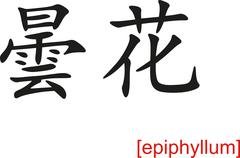Chinese Sign for epiphyllum - stock illustration