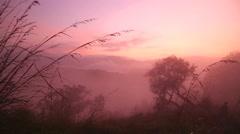 Timelapse of foggy sunrise on the Little Adam's Peak in Ella, Sri Lanka Stock Footage