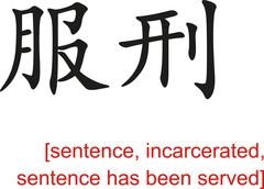 Chinese Sign for sentence,incarcerated,sentence has been served - stock illustration