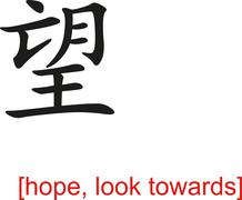 Chinese Sign for hope, look towards Stock Illustration