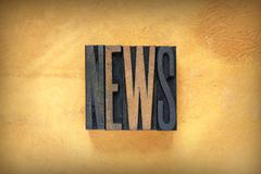 news letterpress - stock photo