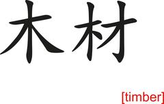 Stock Illustration of Chinese Sign for timber