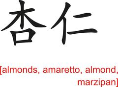Chinese Sign for almonds, amaretto, almond, marzipan - stock illustration